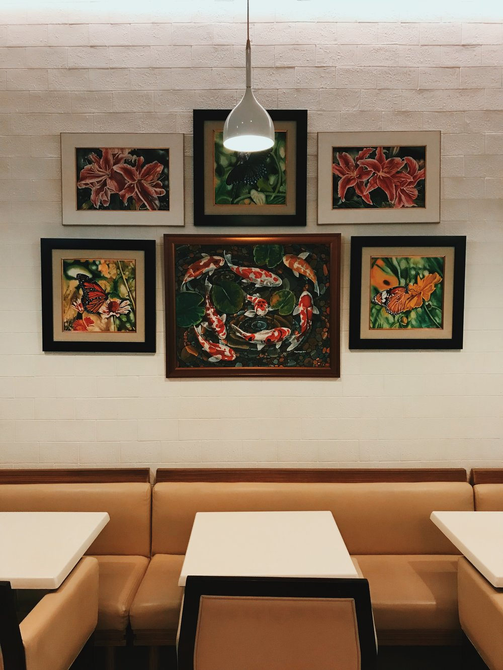 Artworks adorn the dining area