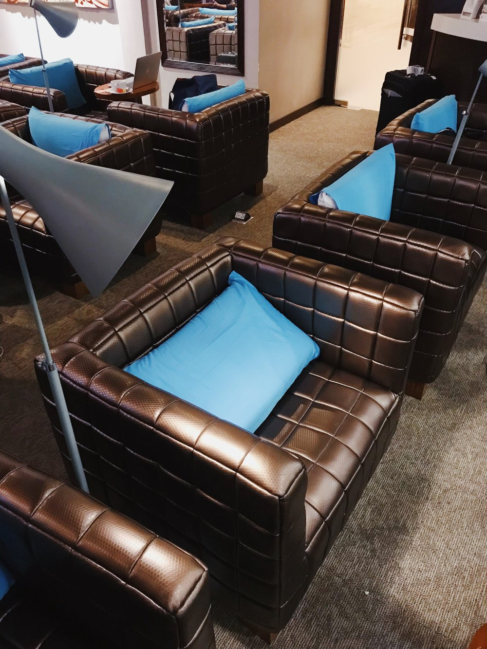The seats at the Corporate Lounge are spacious and comfortable.