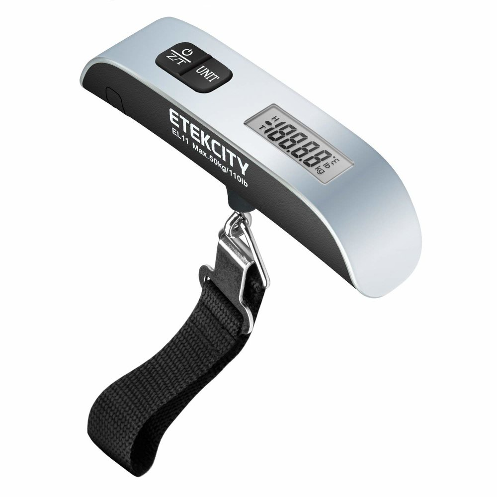 Digital luggage scale - One of the most embarrassing things that could happen on a trip is to unload items from your check-in luggage at the check-in counter to avoid excess baggage. It's best to keep your luggage in check with a personal digital luggage scale.