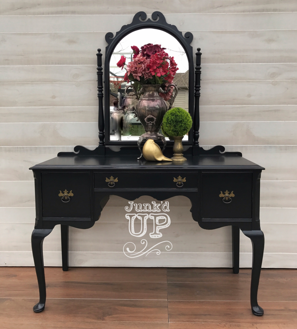 Black Beauty - This vanity had belonged to my client since her childhood. She asked that it be given some love in order that it may be shared with her stepdaughter. What a thoughtful and loving gift.