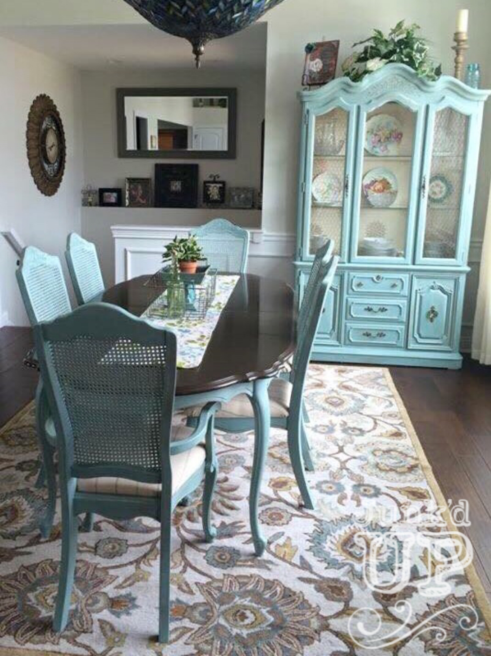 Coastal Inspirations - My client fell in love with this soft blue-green finish after noticing it on a dresser we completed. We replicated the finish on her hand-me-down, tired dining set. Now it's the show stopper centerpiece of her home.