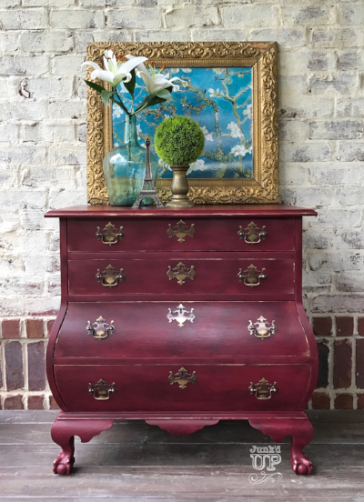 Lady in Red - Well, Burgundy, if we're being honest. A repeat client spied this piece in our
