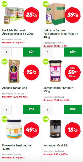 Exempel från  matsmart.se . Priser och utbud varierar.
