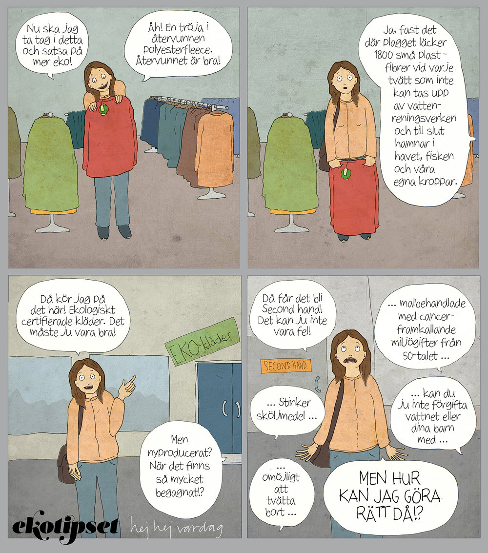 Illustration av grymma  hej hej vardag  i samarbete med Ekotipset