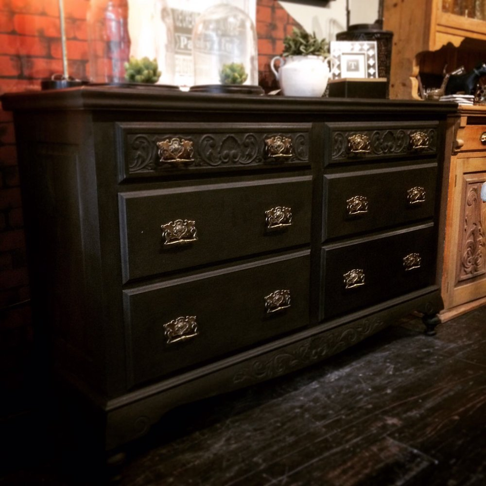 Large Edwardian sideboard in Graphite with Black wax £550