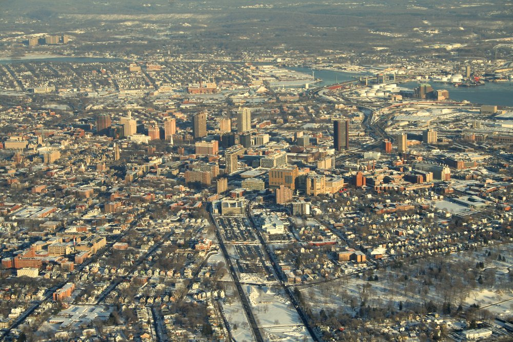 New Haven, from the air, 2011