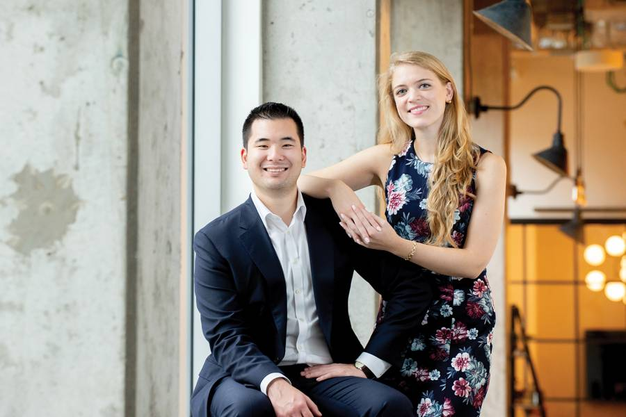 Allysa Dittmar (right) and Aaron Hsu are reinventing the surgical mask