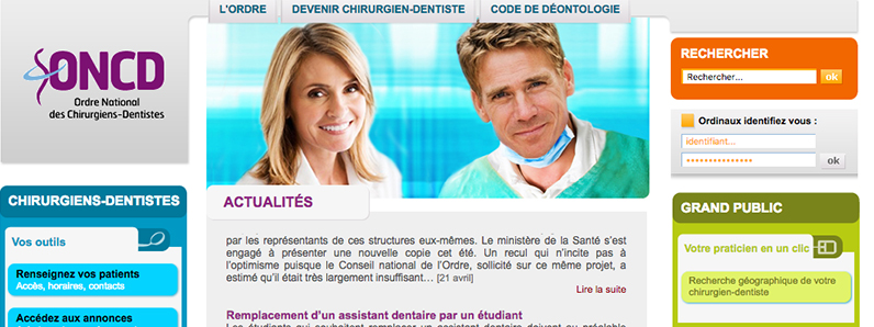 Conseil National de l'Ordre des Chirurgiens Dentistes - http://www.ordre-chirurgiens-dentistes.fr/