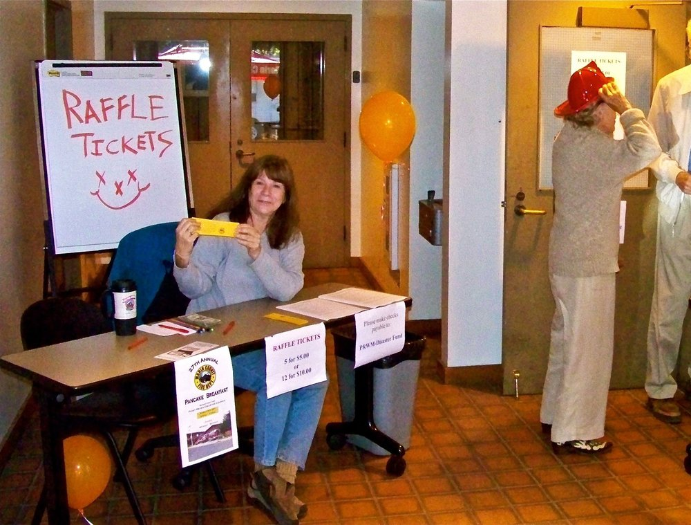 Selling tickets, Pancake Breakfast, Point Reyes Station firehouse.