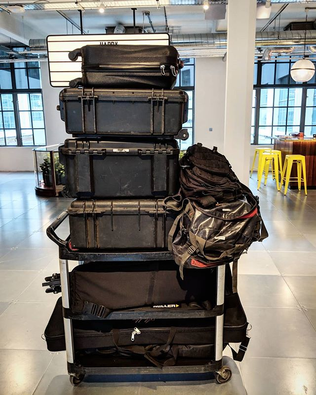 Another day and another stack of luggage to lug in and out of buildings! All for one interview, but it looked bloody gorgeous, worth the 2.5 hours of prep for it! . . . #marketing #directorofphotography #dop #cases #kit #ad #film #filmmaker #peli #luggage #lighting #interview #Crew #Team #london #jwt #advertising #JWT