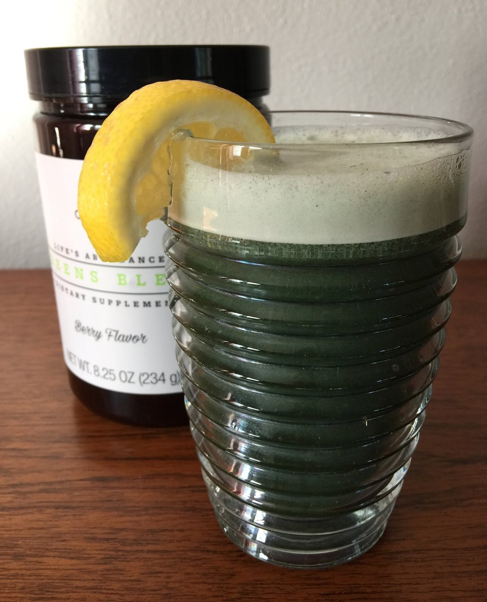 Love my  Greens Blend ! Pure organic grasses gently dried and combined with organic mushrooms. No grassy smell or aftertaste, and it also contains spiraling, chlorella, pulse powder and beet root. No added sugar, artificial flavors, colors or preservatives. I love it on ice with a slice of lemon!