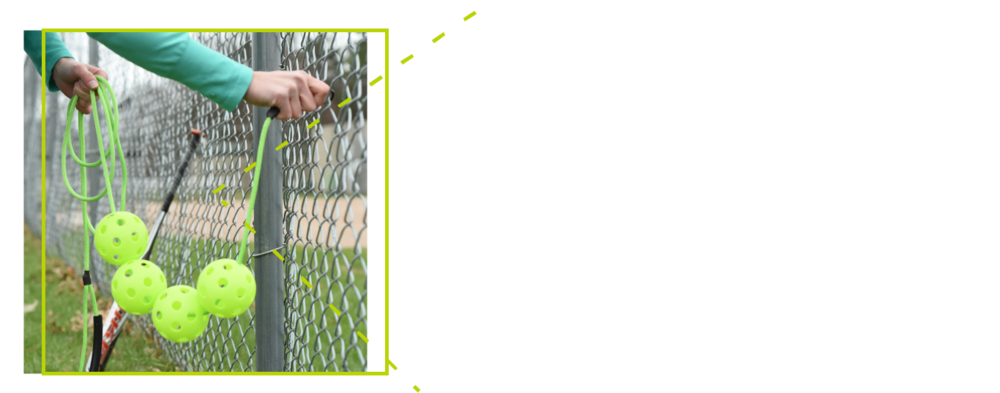 - 1. Clip the carabiner to the fence.2. Have your coach grab the handle and hold level OR clip the other end to an adjacent fence.3. Swing away!