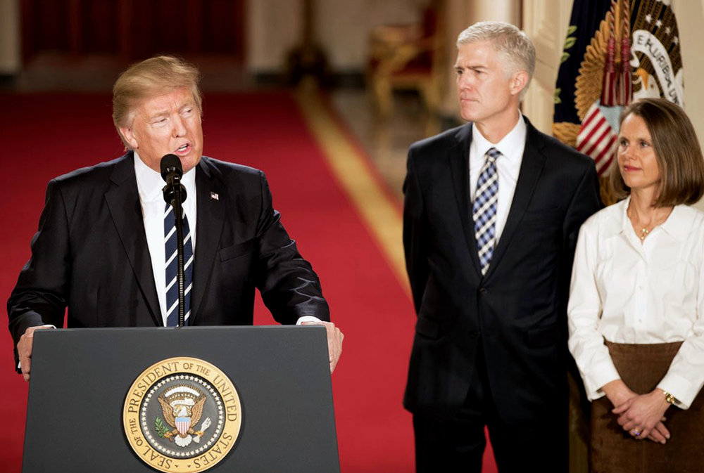 President Donald Trump introducing Gorsuch as his Supreme Court nominee at the White House, January 2017 | Photo by the Whitehouse