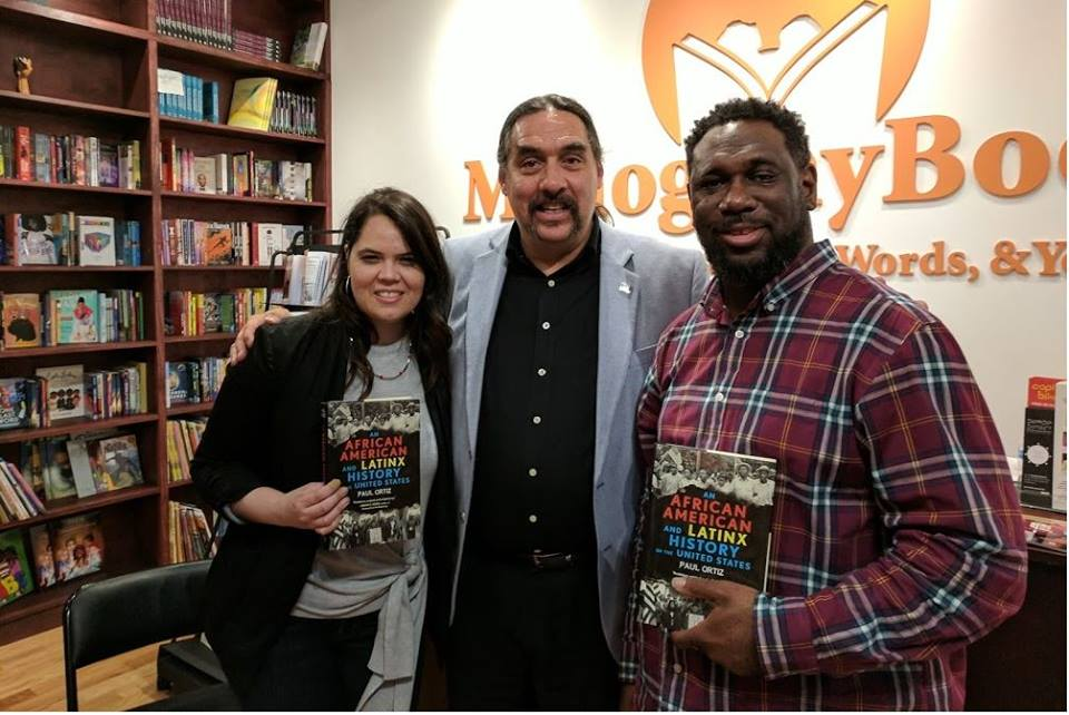 Angela Maria Spring of Duende District & Derrick Young of MahoganyBooks with author Paul Ortiz for the debut of the MBxDD Community Book Group.