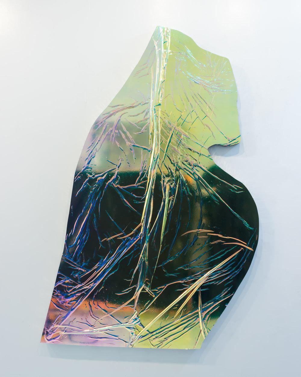 Carol Peligian   REM I , 2017 aluminum, paint, film, pigment and urethane 70 x 41 x 2 inches ( 177.8 x 104.1 x 5 cm )