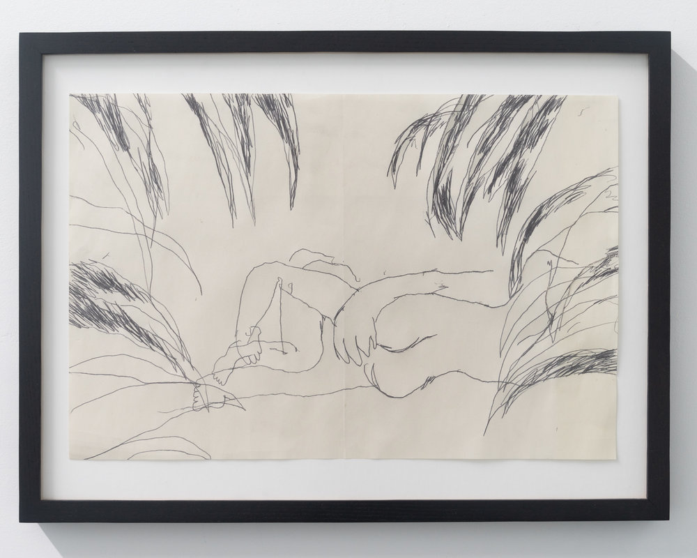 Emilie Gossiaux,  In the Bushes , 2018, ink on newsprint, 26 1/2 x 17 1/2 inches