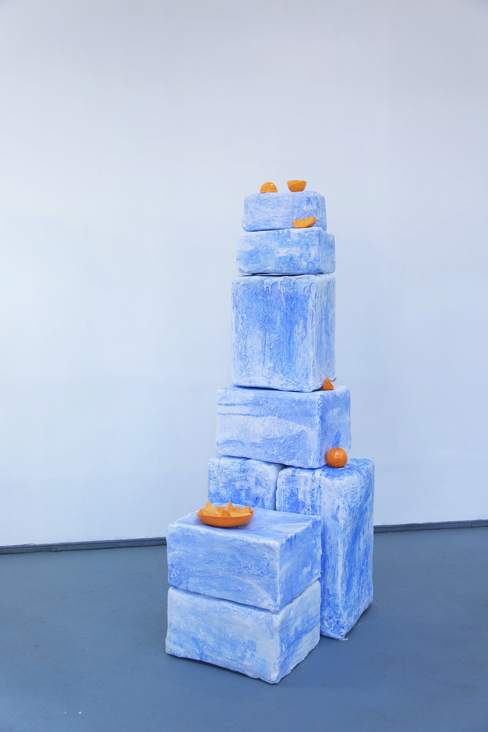 Emilie Gossiaux,  Blue Stacks , 2017, Ceramic, plaster, burlap, pigment, dimensions variable