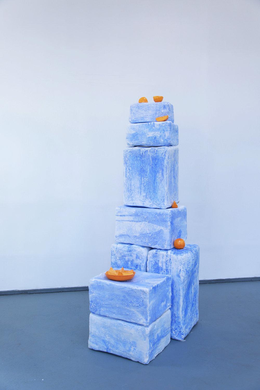 Emilie Gossiaux , Blue Stacks , 2017,Ceramic, plaster, burlap, pigment,dimensions variable