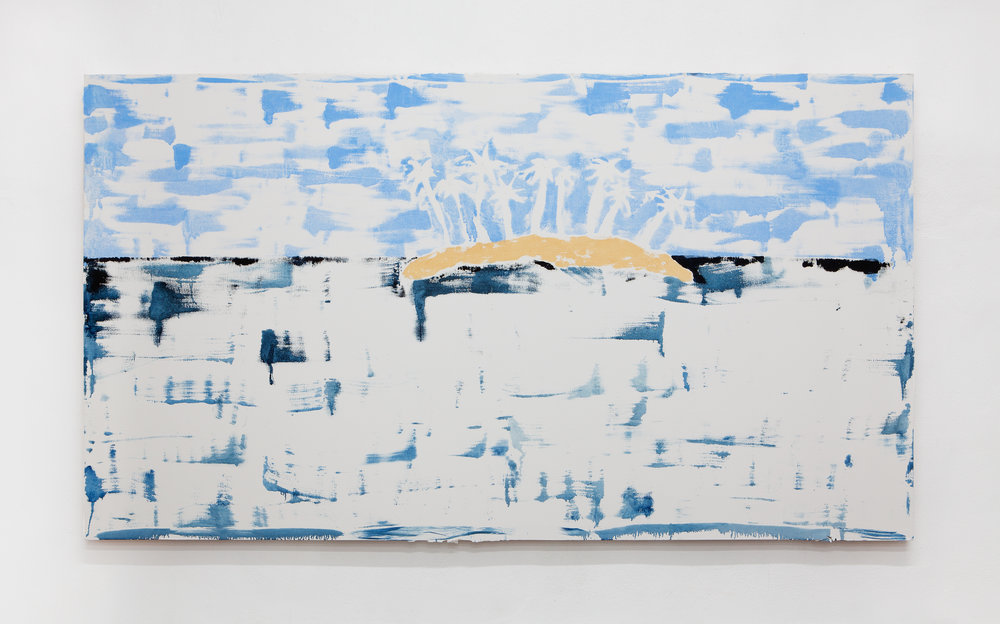 Emilie Gossiaux,  Island After Image , 2018, oil paint on gypsum, 60 x 108 inches