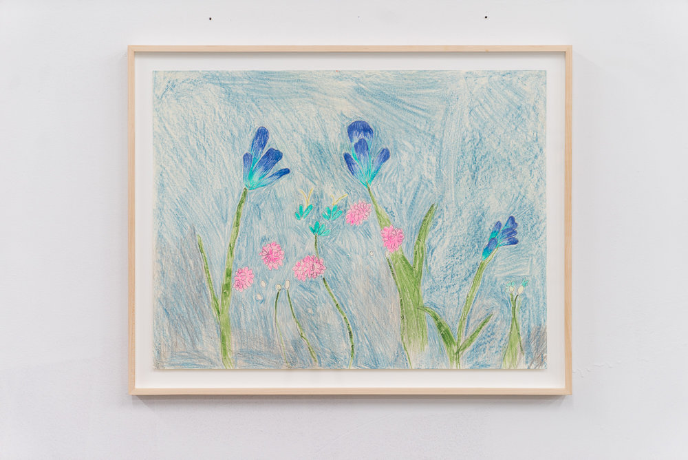 Emilie Gossiaux,  Blue-tiful Garden , 2018, Ink, wax pastel on newsprint, 17 1/2 x 23 inches