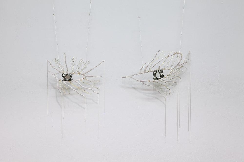 Mindy Rose Schwartz   Hamsa , 2018 Branches, cord, thread, mirrors, crystals, chain 40 x 64 x 10 inches 101.6 x 162.6 x 25.4 cm