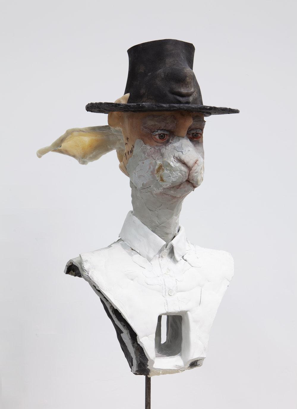 David Altmejd   Untitled , 2019 Expanded polyurethane foam, epoxy clay, resin, epoxy gel, cardboard, glass eyes, quartz, acrylic paint, steel, cement, Sharpie 32 x 14 x 20 inches 81.3 x 35.6 x 50.8 cm