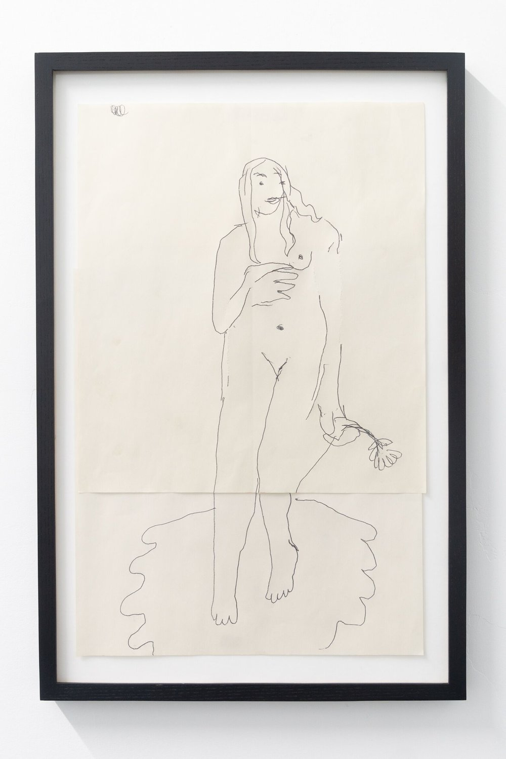 Emilie Gossiaux   Venus , 2018 Ink on newsprint 26 1/2 x 17 1/2 inches 67.3 x 44.5 cm
