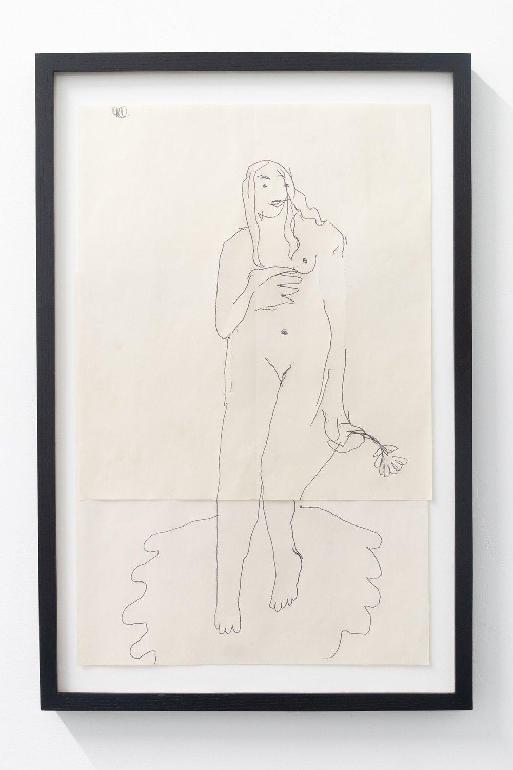 Emilie Gossiaux   Venus , 2018 Ink on newsprint 26 1/2 x 17 1/2 inches 67.3 x 44.5 cm