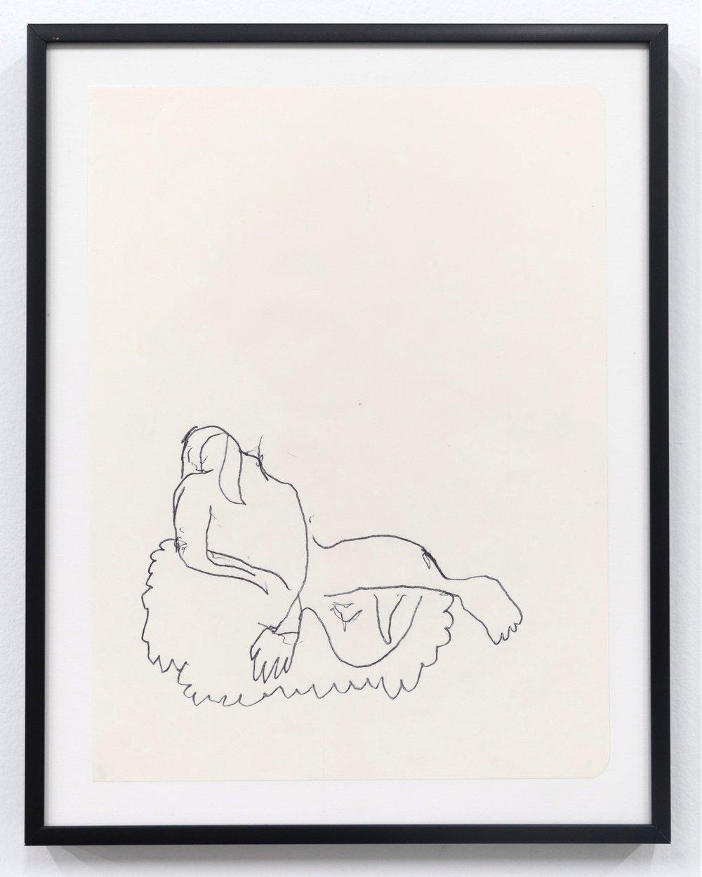 Emilie Gossiaux    Venus , 2018 Ink on newsprint   11 1/2 x 9 1/8 inches 29.2 x 23.2 cm