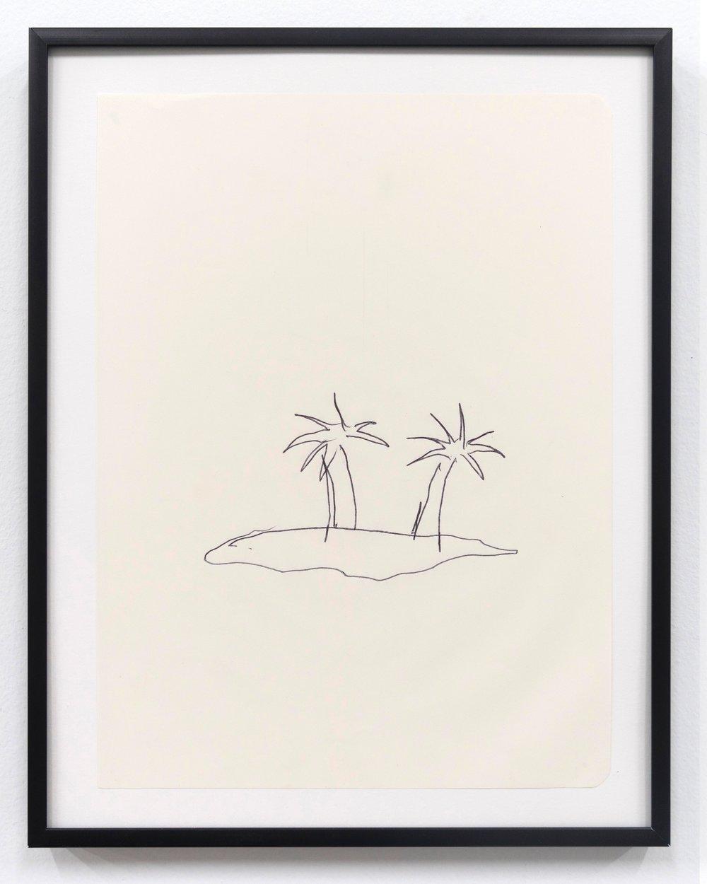 Emilie Gossiaux    The Beach , 2018 Ink on newsprint   11 1/2 x 9 1/8 inches 29.2 x 23.2 cm
