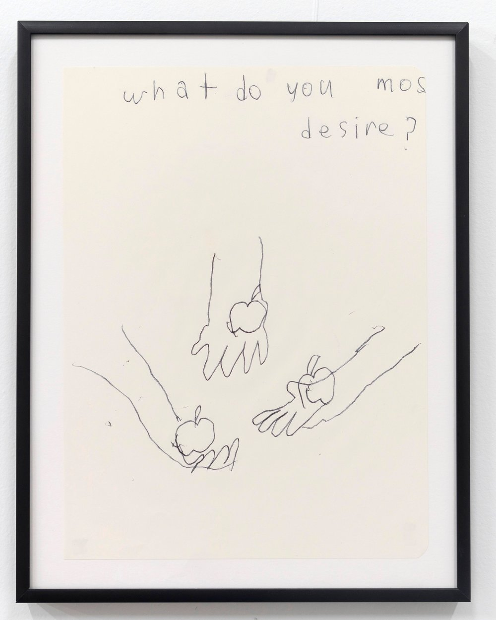 Emilie Gossiaux    What Do You Most Desire , 2018 Ink on newsprint   11 1/2 x 9 1/8 inches 29.2 x 23.2 cm