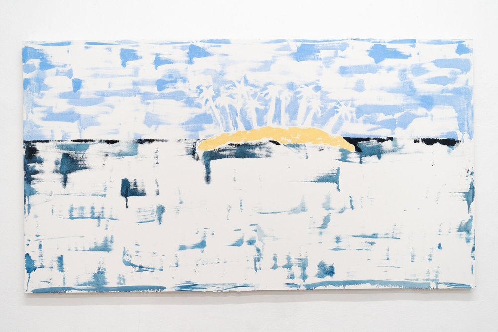 Emilie Gossiaux    Island After Image , 2018 oil paint on drywall   60 x 108 inches 274.3 x 152.4 cm