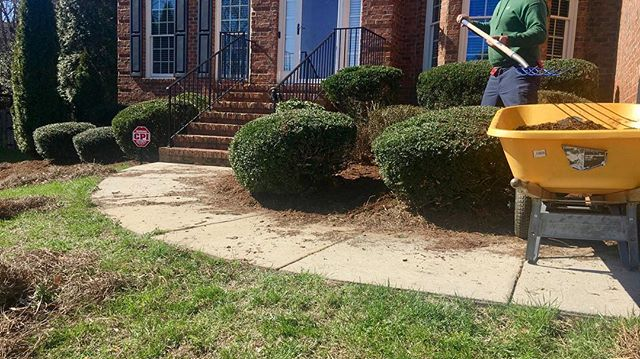 Out with the old in with the new! Pine needles getting replaced with mulch! www.propertypronc.com (336) 239-2688
