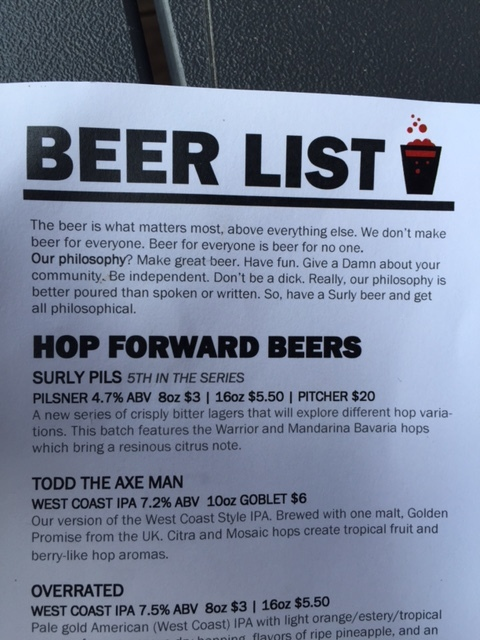 Last Summer, As My Family Was Having Dinner, And A Couple Of Brews, At  Surley In Minneapolis, I Was Perusing The Beer Menu And I Came Across This  At The Top ...