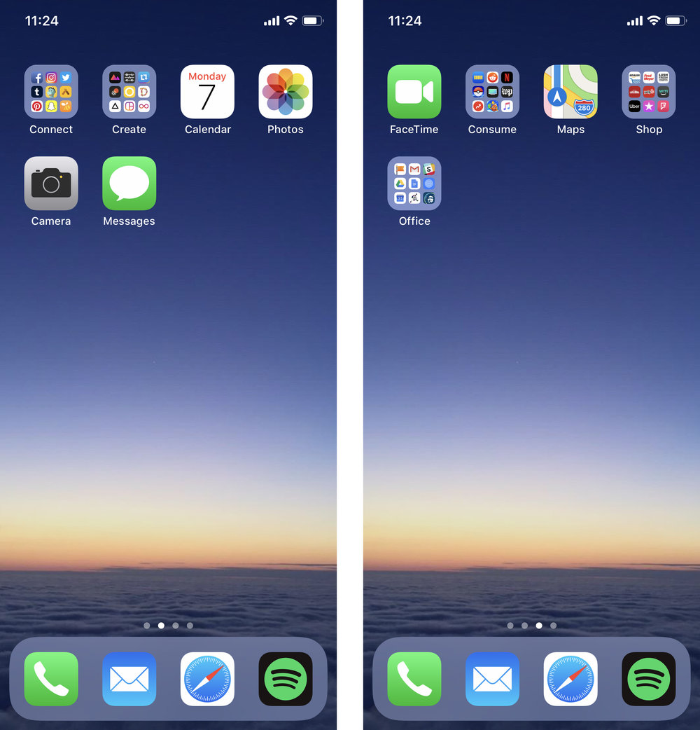 Cassel keeps it minimal with low distraction home screen with apps neatly sorted into connect, create, and consume categories.