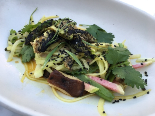 TFK's new exciting Torched Avocado vegetarian dish made withcucumber noodle, mushroom, snap pea, radish, sesame, and turmeric ponzu.