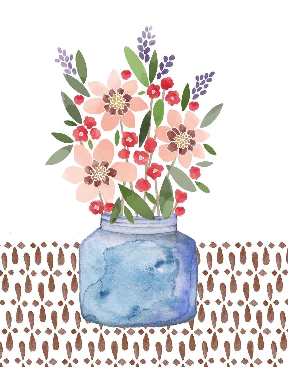 Elizatodd flowers in glass vase