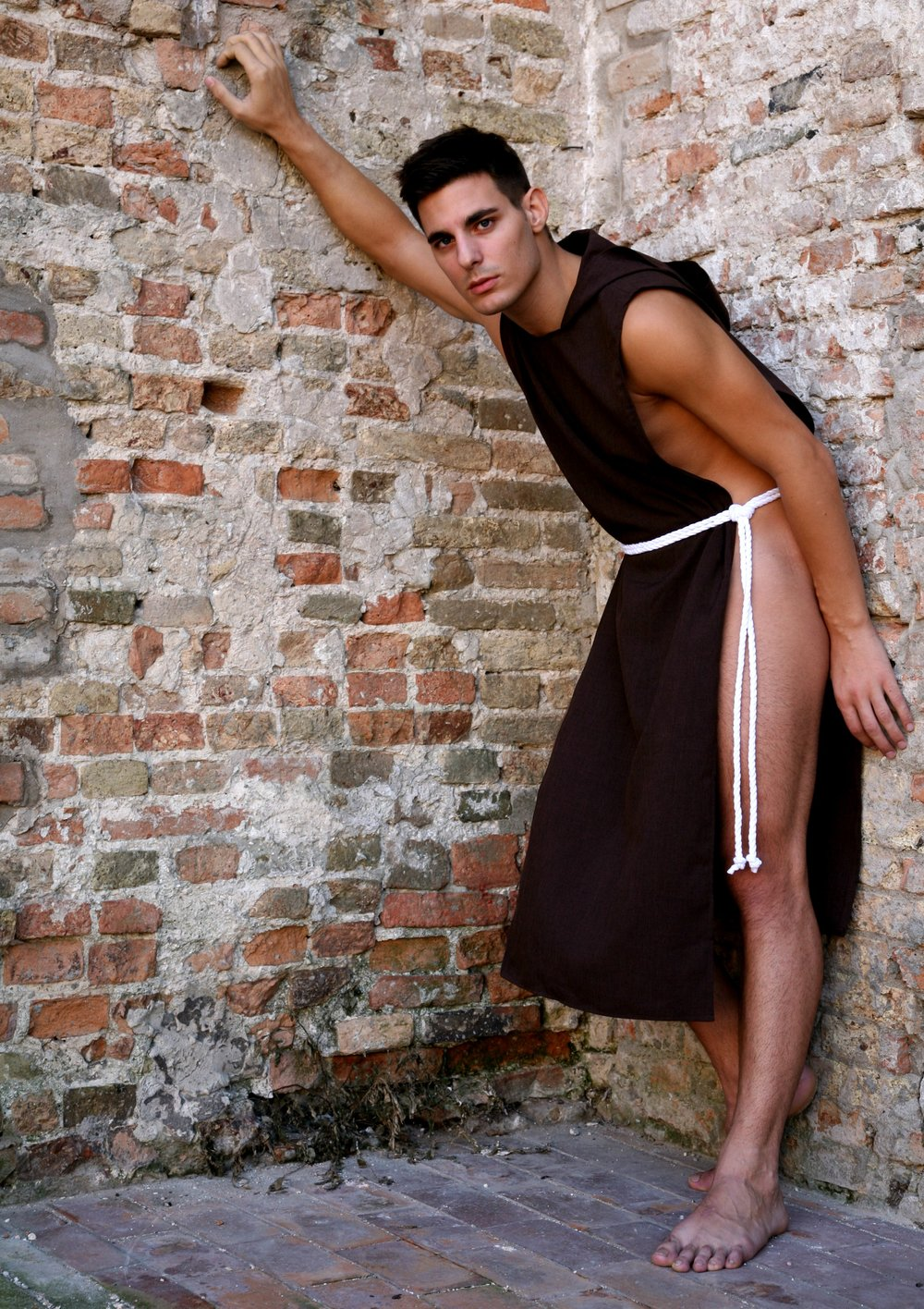 The Naked Friar.  Milanese model. Venice, Italy.  Stylist:  rudyardstylist