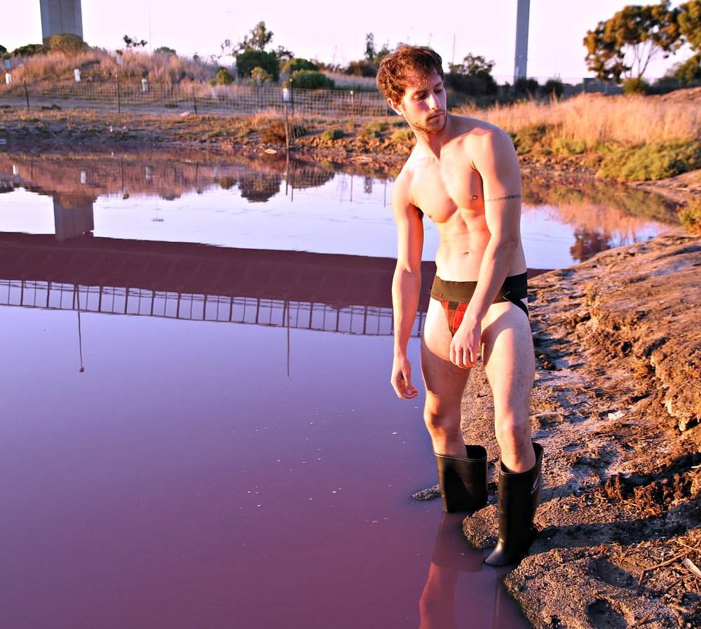 Joshua Dryzen , at a Pink Lake (there are several)  in Melbourne, Australia