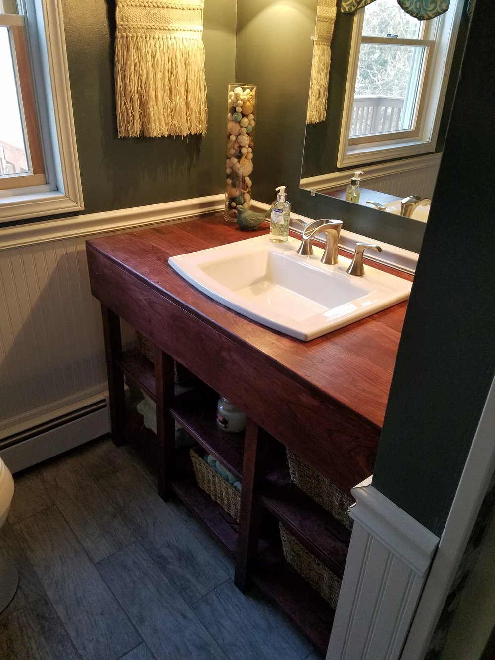 The cost for THIS specific custom vanity pictured on this page is $1950.00 ... your custom design can be loosely associated with the size and features of the vanity outlined here. If you have interest in a custom vanity construction featuring THIS design ... please contact KÄRV for pricing and delivery information. Due to the size and weight of custom designed vanities ... shipping is not available and delivery must be via physical pick-up only from the KÄRV workshop in Massachusetts.