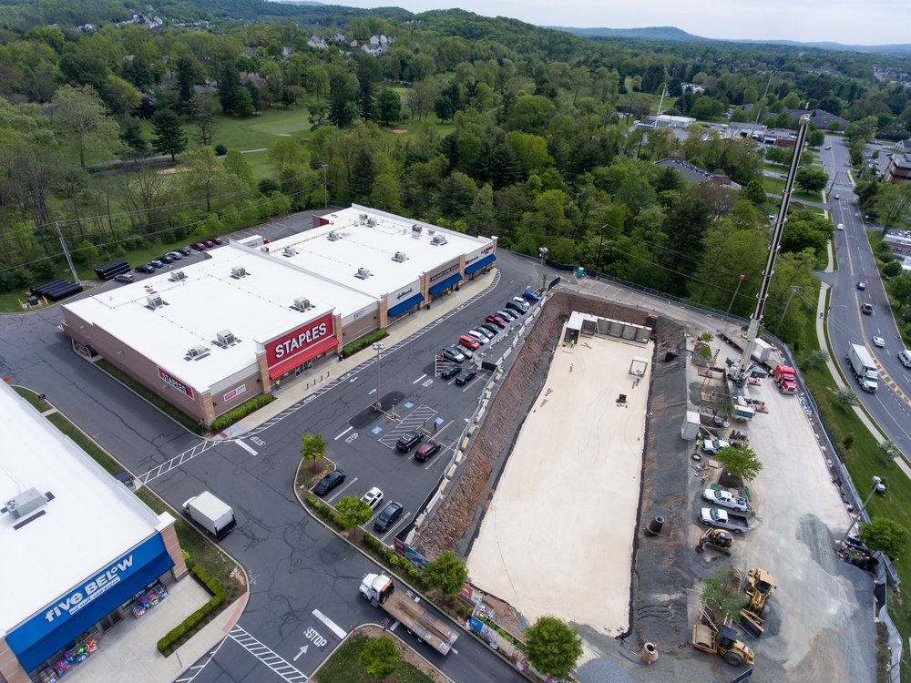 Exeter Commons - A challenging job in Exeter Township, Berks County. Due to failing existing storm water management systems, we have the job to install new redesigned systems. The work has to be done in a sequence that allows the current systems to maintain operational until the new ones are complete. All of this is to be done while keeping this busy shopping center open for business. Project is scheduled to last into 2018.Client | Exeter LP.