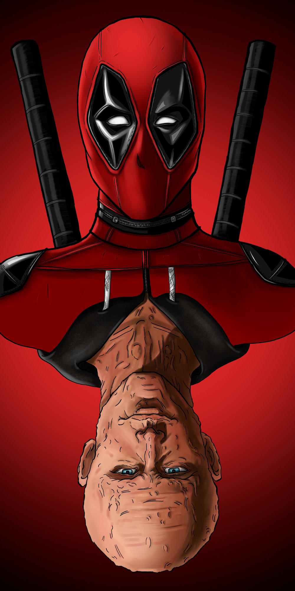 5) Next it was just adding the background, under the deadpool layers. Simply laid down a black layer and then with a soft brush and fade I added the red.
