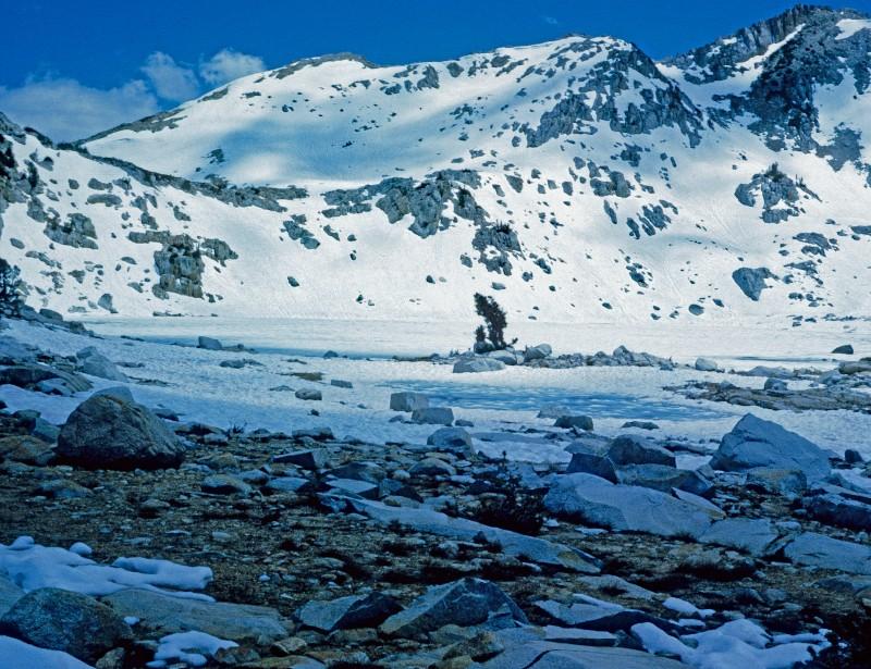 Frozen Squaw Lake, below Silver Pass