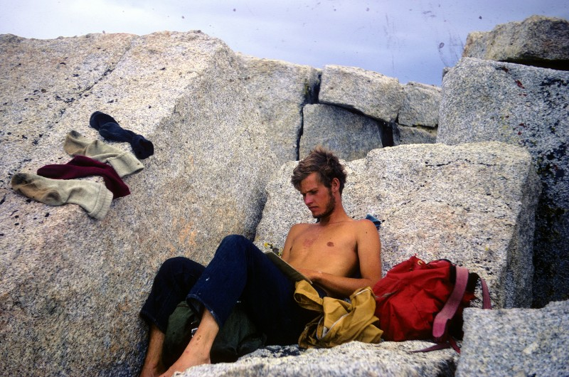 Above: me in my Skeltor phase, or after losing a pound a day for 25 days.  Drying my socks off near the top of Mt. Russell.