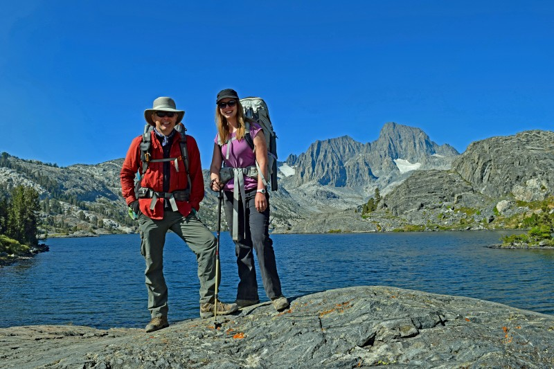 The next lake we hit was Garnet Lake, with Kevin and Jenna Anderson with the lake behind them, and Ritter and Banner Peaks in the background.