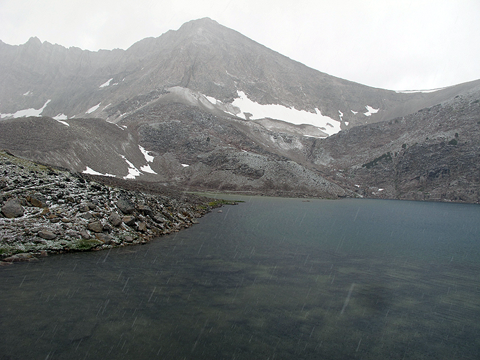 Cirque Lake during the storm.