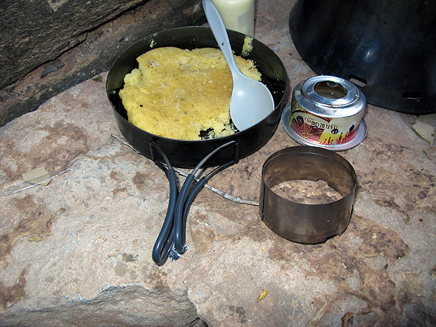 Above: TrailDesigns simmer ring and Caldera Cone stove, with cornbread made in the fry pan/pot lid.