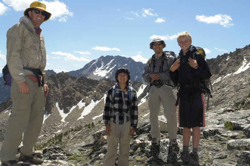 Above are Dave, Tomio, Gary, and Kade, on a day hike to Lonesome lake, and Hidden lake for fishing.
