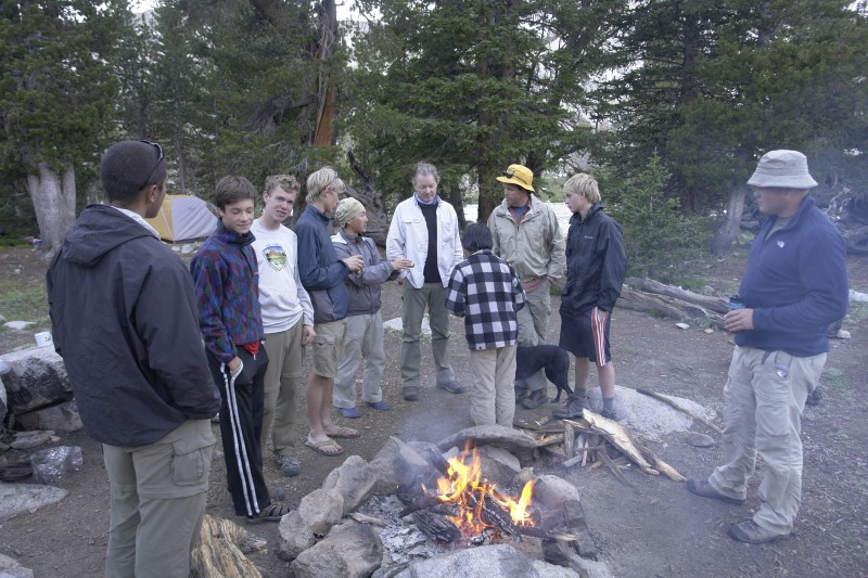Above is a typical grouping around a campfire, this one at Hummock Lake.