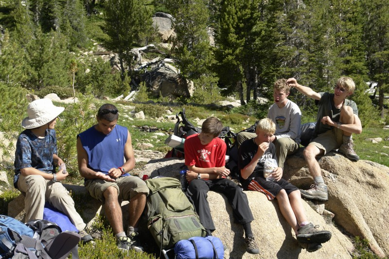 Here are the boys as we rested at Scree Lake, before heading to Quiet Lake and the Four Lakes Basin.